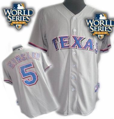 Youth Texas Rangers #5 Ian Kinsler 2010 World Series Patch jerseys gray