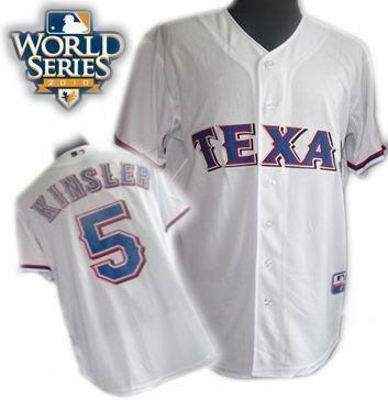 Youth Texas Rangers #5 Ian Kinsler 2010 World Series Patch jerseys white