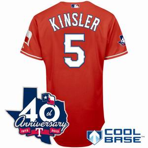 Youth Texas Rangers 5# Ian Kinsler red Cool Base Jersey w 40th Anniversary Patch