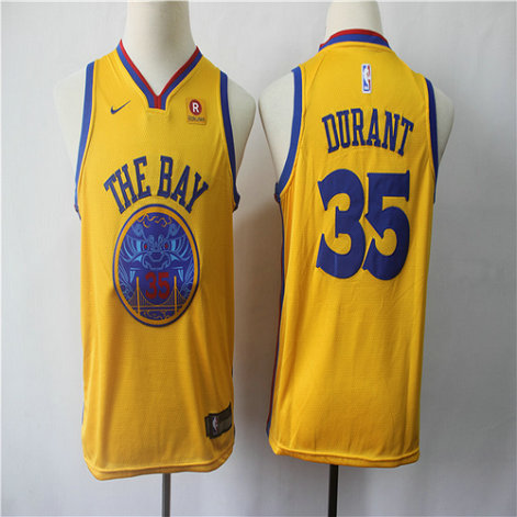 Youth Warriors 35 Kevin Durant Gold City Edition Youth Nike Swingman Jersey
