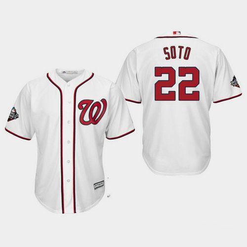 Youth Washington Nationals #22 Juan Soto White 2019 World Series Bound Cool Base Jersey