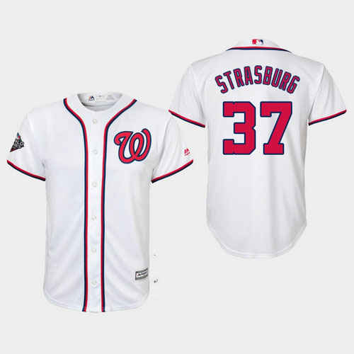 Youth Washington Nationals #37 Stephen Strasburg  White 2019 World Series Bound Washington Nationals Cool Base Jersey
