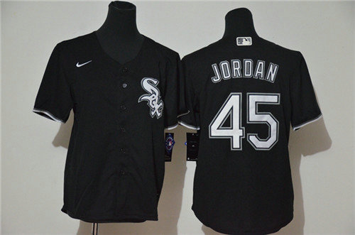 Youth White Sox 45 Michael Jordan Black Youth 2020 Nike Cool Base Jersey