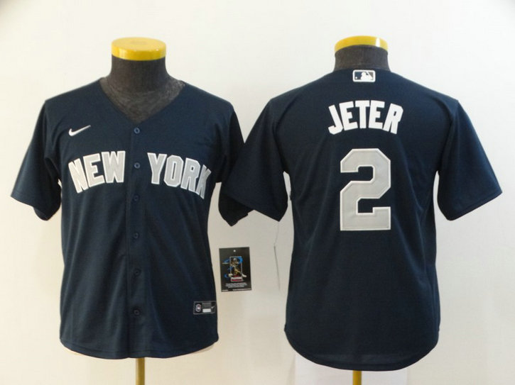 Youth Yankees 2 Derek Jeter Navy Youth 2020 Nike Cool Base Jersey