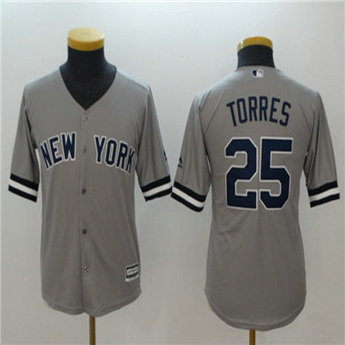 Youth Yankees 25 Gleyber Torres Gray Youth Cool Base Jersey