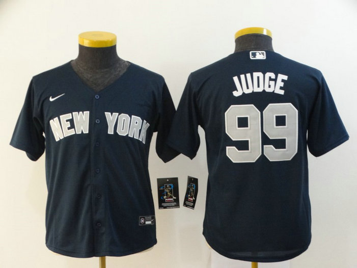 Youth Yankees 99 Aaron Judge Navy Youth 2020 Nike Cool Base Jersey