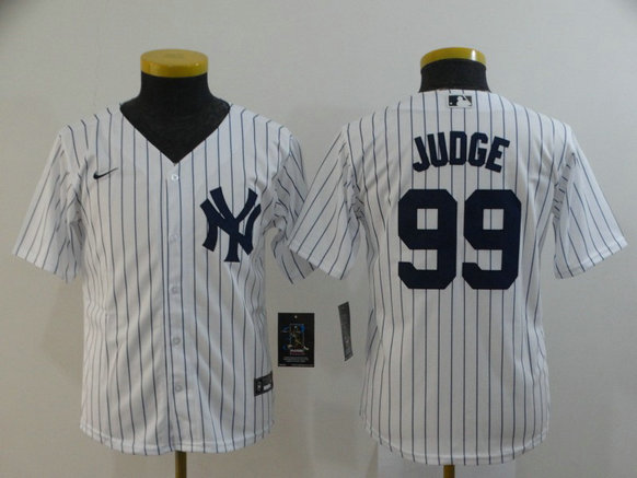 Youth Yankees 99 Aaron Judge White Youth 2020 Nike Cool Base Jersey