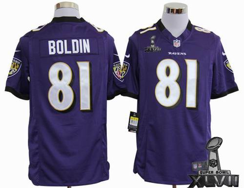 Youth nike Baltimore Ravens #81 Anquan Boldin purple game 2013 Super Bowl XLVII Jersey