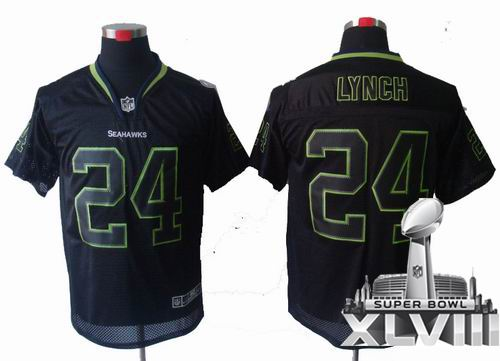 Youth nike Seattle Seahawks 24# Marshawn Lynch Lights Out Black elite 2014 Super bowl XLVIII(GYM) Jersey