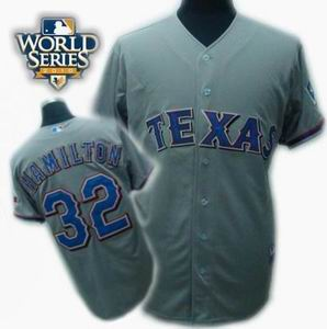 youth Texas Rangers #32 Josh Hamilton 2010 World Series Patch jerseys gray