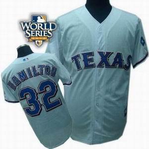 youth Texas Rangers #32 Josh Hamilton 2010 World Series Patch jerseys white