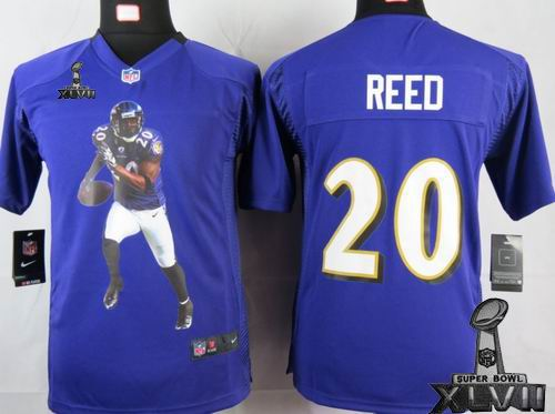 youth printed Nike Baltimore Ravens #20 Ed Reed Purple Portrait Fashion Game 2013 Super Bowl XLVII Jersey