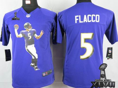 youth printed Nike Baltimore Ravens #5 Joe Flacco purple Portrait Fashion Game 2013 Super Bowl XLVII Jersey