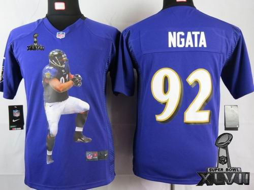 youth printed nike Baltimore Ravens #92 Haloti Ngata purple Portrait Fashion Game 2013 Super Bowl XLVII Jersey